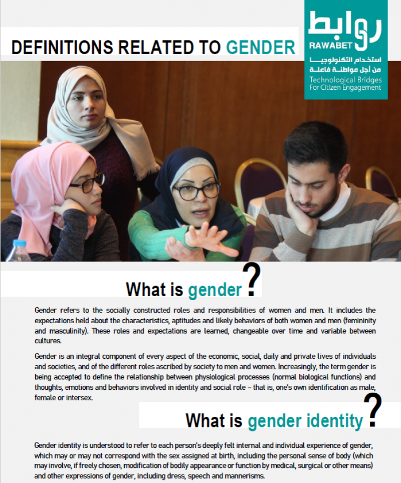 Cover page of the first tip sheet on the definition related to gender